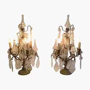 Antike französische Kerzenständer aus Bronze & geschliffenem Glas, 2er Set