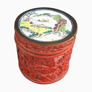 Antike zinnoberrot lackierte chinesische Chung Hsing Dose