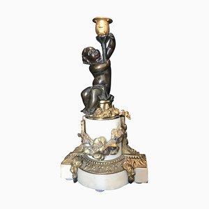 Antiker Kerzenhalter aus patinierter Bronze & Marmor im Louis XVI-Stil