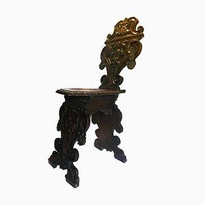 Silla Sgabello italiana renacentista, década de 1870
