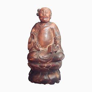 Sculpture d'Immortel Taoïste Antique en Bois Sculpté, Chine