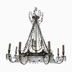 Russian Blue Glass & Silver-Plated Chandelier, 1890s