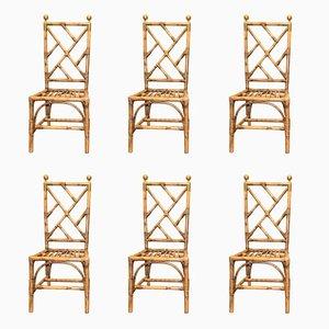 Chaises en Bambou et Laiton Doré, France, 1970s, Set de 6