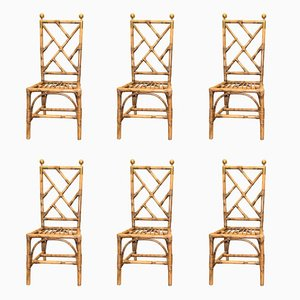 French Bamboo & Golden Brass Chairs, 1970s, Set of 6
