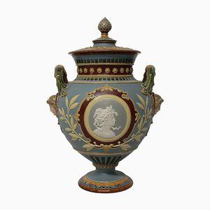 Neoklassische deutsche Majolica Tazza von Hein, 1890er