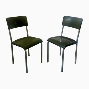 Green Desk Chairs by Rene Herbst, 1940s, Set of 2