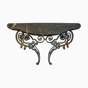 19th Century Forged & Golden Iron Demilune French Console Table