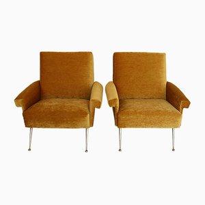 Gelbe italienische Sessel mit Bezug aus Chenille & Messingfüßen, 1950er, 2er Set