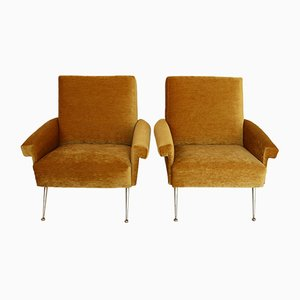 Italian Yellow Cotton Chenille Armchairs with Brass Feet, 1950s, Set of 2