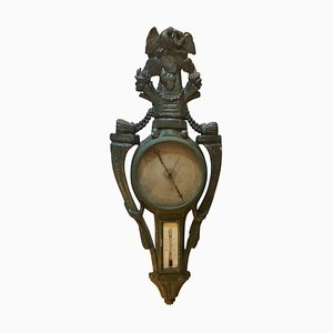 Mehrfarbig lackierter Louis XV Barometer und Reaumur-Thermometer, 18. Jh.,