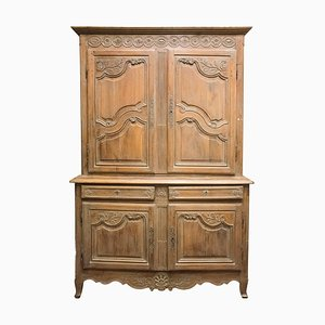 19th Century Carved & Stucco Fruit Wood Cupboard
