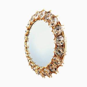 Espejo de pared de latón dorado y cristal iluminado de Palwa, años 60
