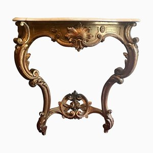 Antique Louis XV Style French Carved & Gilded Marble Top Console