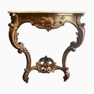 Consola francesa estilo Luis XV antigua de madera dorada y tallada con superficie de mármol