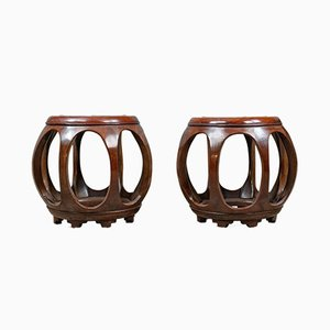 Vintage Chinese Barrel Side Tables, Set of 2