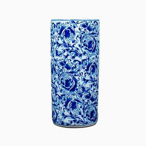 Japanischer Vintage Schirmständer aus Keramik in Blau & Weiß