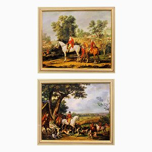 Antique French Rural Equestrian Pictures, Set of 2