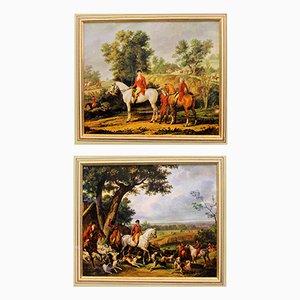 Ländlicher Lebensstil Reiterbilder, 1890er, 2er Set