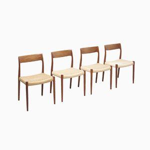 Modell 77 Esszimmerstühle mit Sitz aus aus Papierkordelgeflecht von Niels O. Møller für J.L. Møllers, 1950er, 4er Set