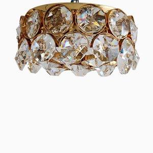 Lámpara de techo dorada con cristales de Palwa, años 60