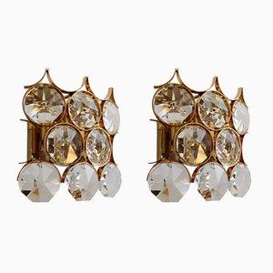 Apliques de pared dorados con cristales de Palwa, años 60. Juego de 2
