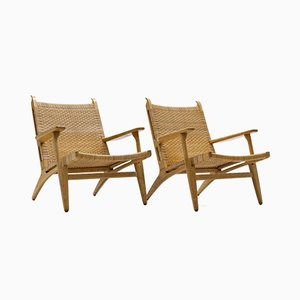 Cane and Oak CH27 Lounge Chairs by Hans J. Wegner for Carl Hansen & Søn, 1950s, Set of 2