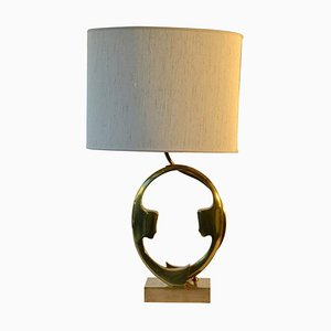 Bronze Silhouette Face Table Lamp by Willy Daro, 1970s