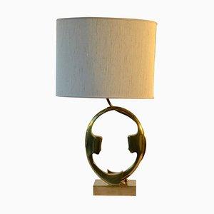 Bronze Tischlampe in Sillhouetten-Optik von Willy Daro, 1970er