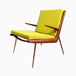 Danish Teak & Brass Boomerang Lounge Chair by Peter Hvidt & Orla Mølgaard-Nielsen for France & Søn, 1950s