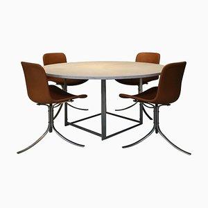 Tavolo PK54 con sedie PK9 di Poul Kjaerholm per Ejvind Kold Christensen, 1966