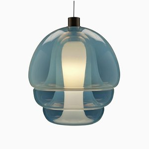 Opalescent Glass Pendant Lamp by Carlo Nason for Mazzega, 1960s