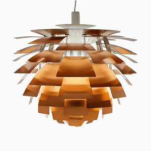 Lampada Artichoke in rame di Poul Henningsen per Louis Poulsen, anni '60