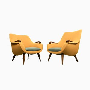 Vintage Egg Shaped Lounge Chairs, 1950s, Set of 2