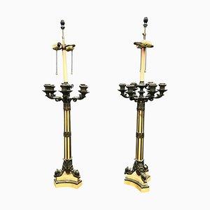 Lámparas candelabros francesas Imperio grandes de bronce y mármol Siena, siglo XIX. Juego de 2