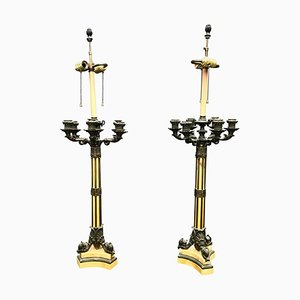 Large 19th Century French Empire Bronze & Siena Marble Candelabra Lamps, Set of 2