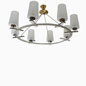 Mid-Century Austrian Opaline Glass & Brass 8-Light Chandelier