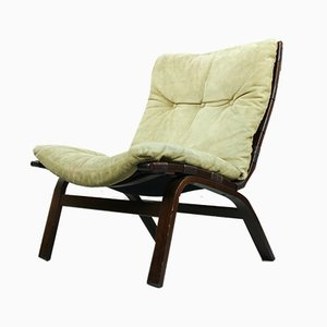 Beige Suede Lounge Chair by Farstrup Møbler, 1970s