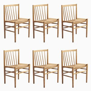 Oak & Paper Cord Dining Chairs by Jørgen Bækmark for FDB, 1960s, Set of 6
