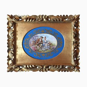 Antique Hand-Painted Porcelain Plaque
