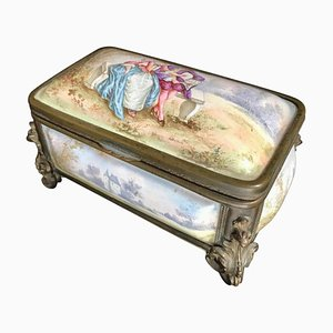 Antique French Polychrome Enamel & Bronze Jewelry Box