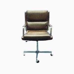 Chaise de Bureau Mid-Century en Cuir et Acier Inoxydable, France, 1960s