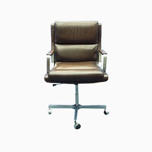 Mid-Century French Leather Stainless Steel Desk Chair, 1960s