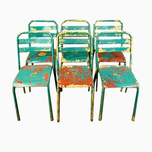 Vintage French T2 Garden Chairs from Tolix, Set of 6
