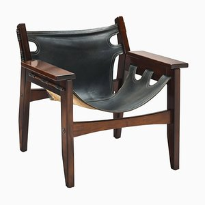 Vintage Black Leather Kilin Lounge Chair by Sergio Rodrigues for Oca Brazil
