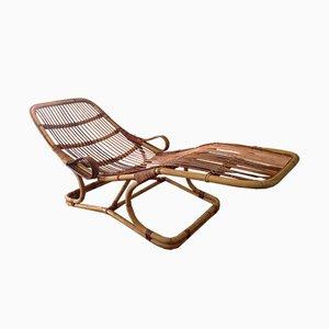 Chaise longue vintage de ratán, años 60