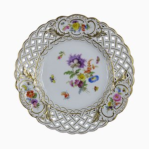 Antiker handbemalter Teller von Meissen Porzellan