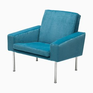 Blue Velvet Armchair by Hans Wegner for AP Stolen, 1960s
