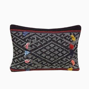 Housse de Coussin Kilim Tissée à la Main avec Motif Aztèque de Vintage Pillow Store Contemporary