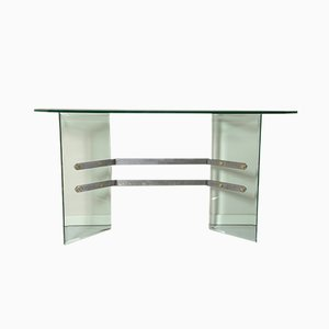 Mid-Century Italian Glass Console Table by Tarsia, 1970s
