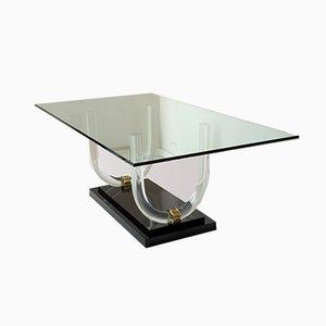 Mesa de comedor italiana Mid-Century de metacrilato, latón y vidrio, años 70